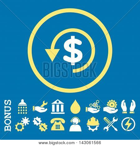 Chargeback glyph bicolor icon. Image style is a flat pictogram symbol inside a circle, yellow and white colors, blue background. Bonus images are included.
