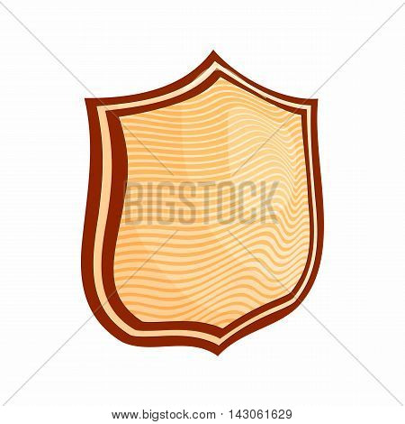 Striped shield icon in cartoon style isolated on white background