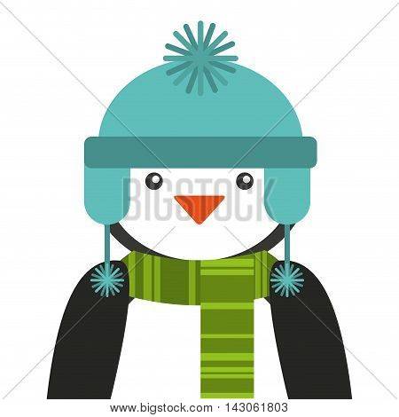 penguins christmas character isolated icon vector illustration design