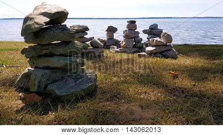 Some Inukshuks Along The Shore Of Lake Ontario, MIllhaven Ontario
