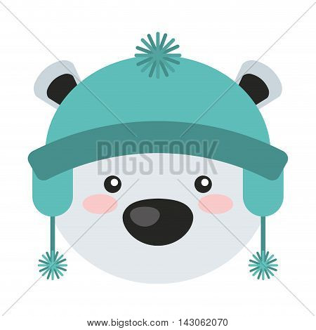 bear polar christmas character isolated icon vector illustration design