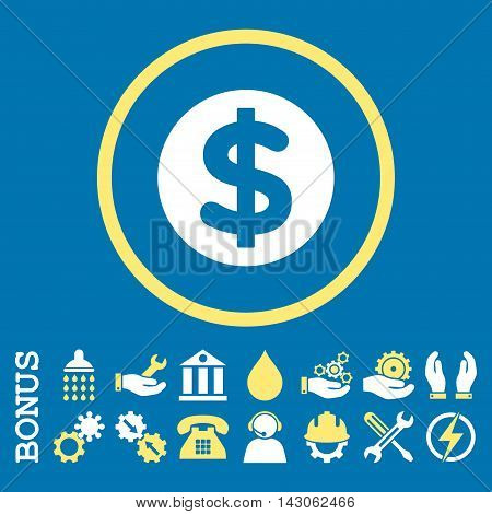 Finance glyph bicolor icon. Image style is a flat pictogram symbol inside a circle, yellow and white colors, blue background. Bonus images are included.