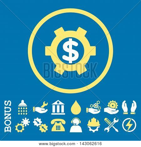 Financial Settings glyph bicolor icon. Image style is a flat pictogram symbol inside a circle, yellow and white colors, blue background. Bonus images are included.