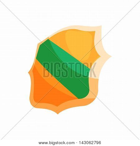Green band shield icon in cartoon style isolated on white background