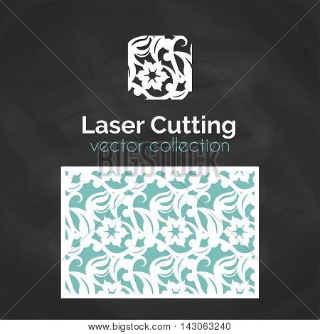 Laser Cut Card. Template For Laser Cutting. Seamless Pattern for Die Cut Wedding Invitation Card. Vector Cutout Illustration With Floral Ornament.