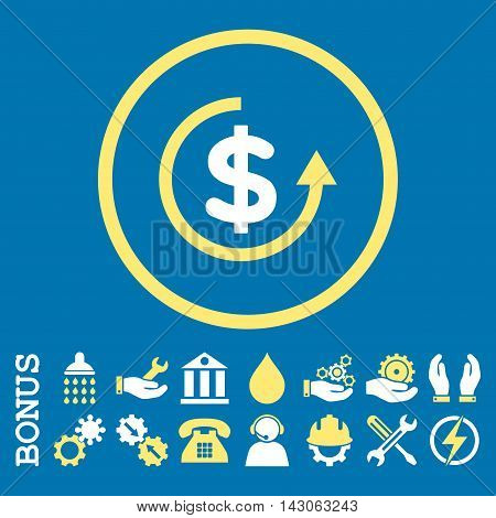 Refund glyph bicolor icon. Image style is a flat pictogram symbol inside a circle, yellow and white colors, blue background. Bonus images are included.