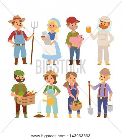Farmers people vector characters