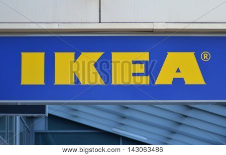 CIRCA AUGUST 2016 - GDANSK: logo of ikea. IKEA is multinational group of companies designing and selling ready-to-assamble furniture. It was founded in 1943 in Almhult, Sweden.