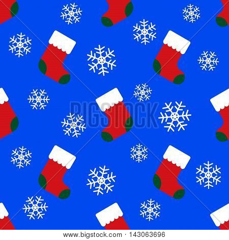 abstract wrapping paper seamless pattern - christmas socks and white snowflakes on a blue background