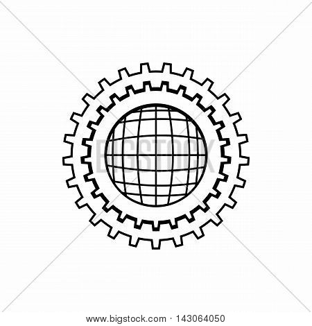 World setting online icon in outline style isolated on white background. Setup symbol