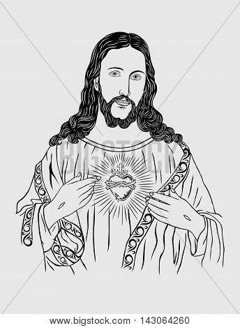Jesus Christ face, art sketch drawing vector design