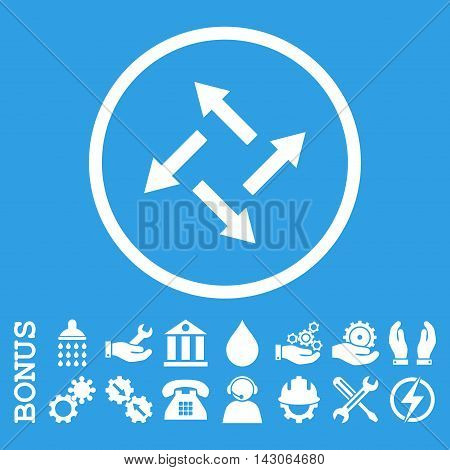 Centrifugal Arrows glyph icon. Image style is a flat pictogram symbol inside a circle, white color, blue background. Bonus images are included.