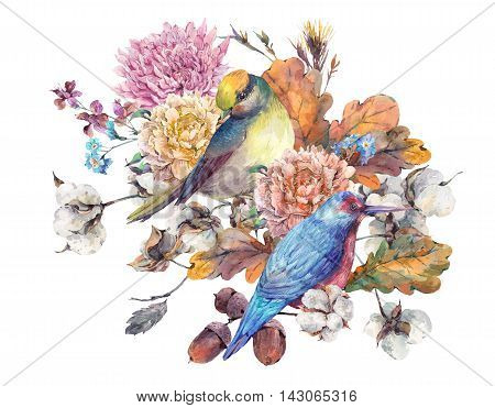 Vintage watercolor pair of birds with autumn bouquet of twigs, cotton flower, yellow oak leaves, chrysanthemum and acorns. Botanical floral illustrations. Greeting card Isolated on white background