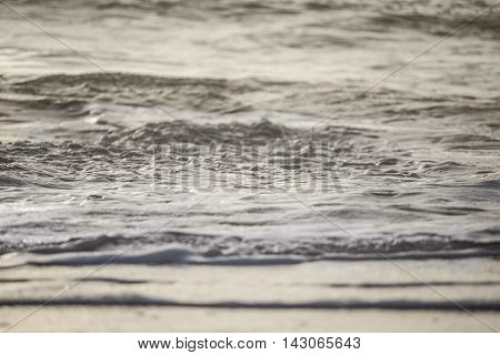 Foamy ocean water on sand during sunset with soft light