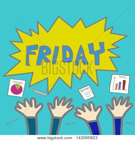 Employee happy it is Friday cartoon illustration