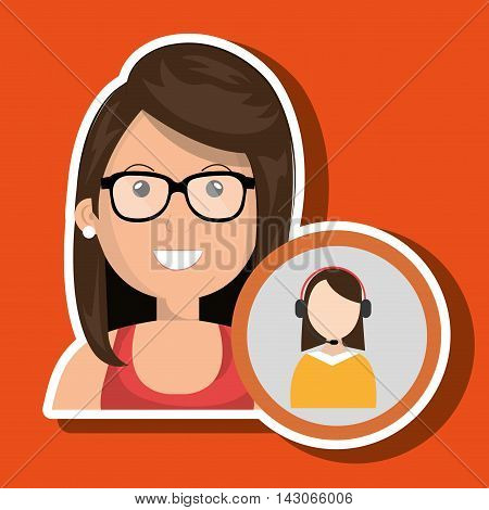woman call center attention vector illustration graphic