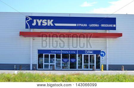 CIRCA AUGUST 2016 - GDANSK:  logo of jysk. Jysk is Danish retail chain selling household goods. It was founded in 1979 by Lars Larsen in Aarhus, Denmark.
