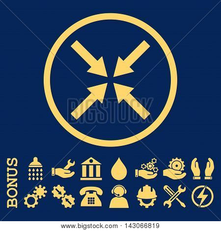 Center Arrows glyph icon. Image style is a flat pictogram symbol inside a circle, yellow color, blue background. Bonus images are included.