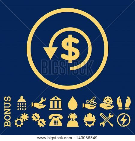 Chargeback glyph icon. Image style is a flat pictogram symbol inside a circle, yellow color, blue background. Bonus images are included.