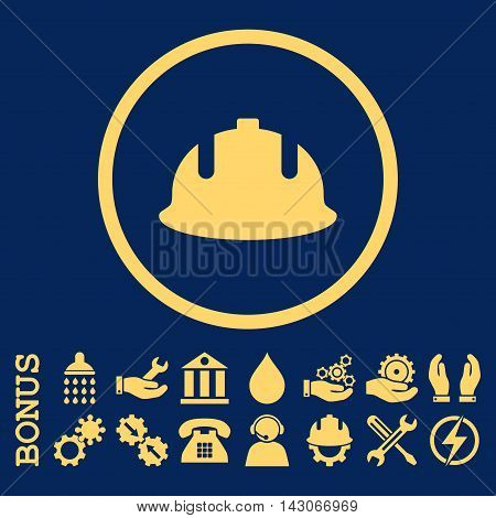 Construction Helmet glyph icon. Image style is a flat pictogram symbol inside a circle, yellow color, blue background. Bonus images are included.
