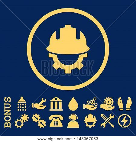 Development Helmet glyph icon. Image style is a flat pictogram symbol inside a circle, yellow color, blue background. Bonus images are included.