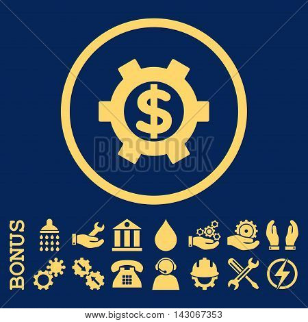 Financial Settings glyph icon. Image style is a flat pictogram symbol inside a circle, yellow color, blue background. Bonus images are included.