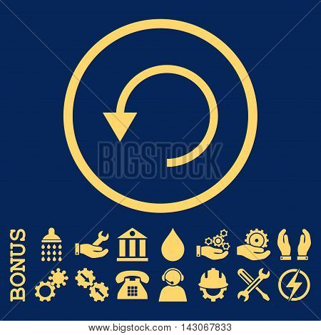 Rotate Ccw glyph icon. Image style is a flat pictogram symbol inside a circle, yellow color, blue background. Bonus images are included.