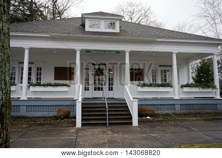 WEQUETONSING, MICHIGAN / UNITED STATES - DECEMBER 22, 2015: The office, director's room, and post office of the Wequetonsing Association.