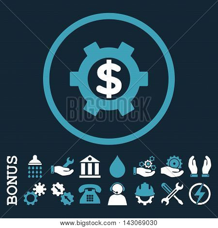 Financial Settings glyph bicolor icon. Image style is a flat pictogram symbol inside a circle, blue and white colors, dark blue background. Bonus images are included.