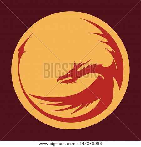 Chinese red dragon head silhouette - company emblem. Vector