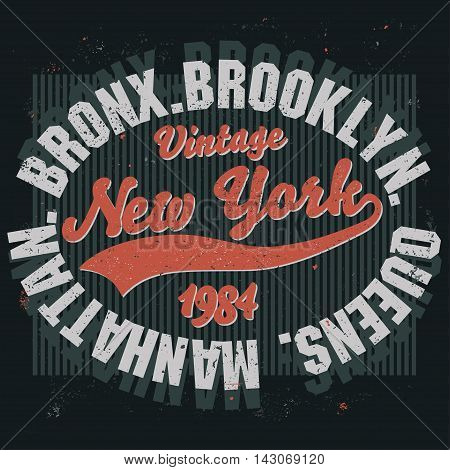 New York Brooklyn Sport wear typography emblem, t-shirt stamp graphics, vintage tee print, athletic apparel design