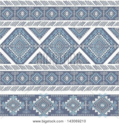 Vector Tribal Mexican vintage blue ethnic seamless pattern