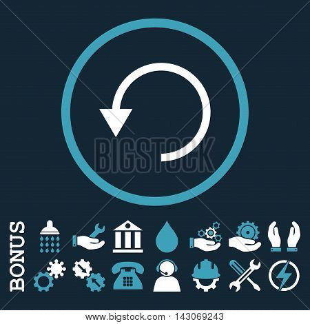 Rotate Ccw glyph bicolor icon. Image style is a flat pictogram symbol inside a circle, blue and white colors, dark blue background. Bonus images are included.
