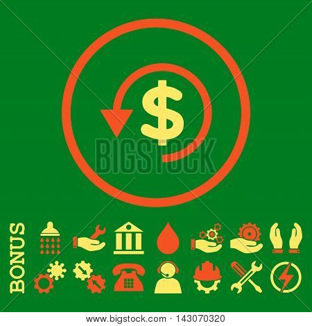 Chargeback glyph bicolor icon. Image style is a flat pictogram symbol inside a circle, orange and yellow colors, green background. Bonus images are included.