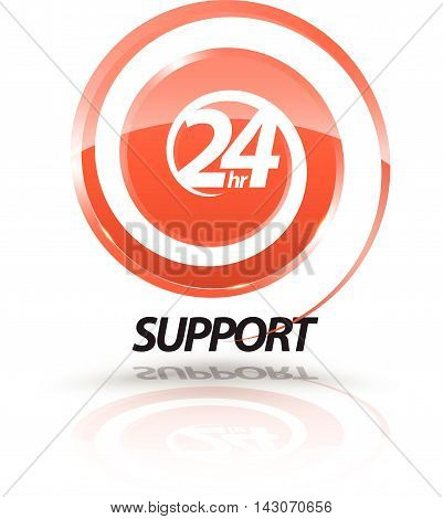 24hr support with swirl. Vector illustration. for support symbol.