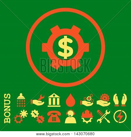 Financial Settings glyph bicolor icon. Image style is a flat pictogram symbol inside a circle, orange and yellow colors, green background. Bonus images are included.