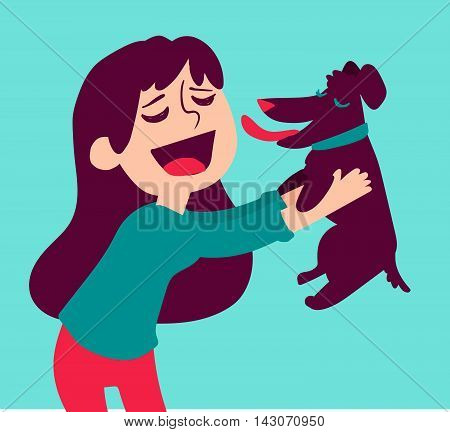 Vector illustration of a cartoon girl holding a dog licking her face.