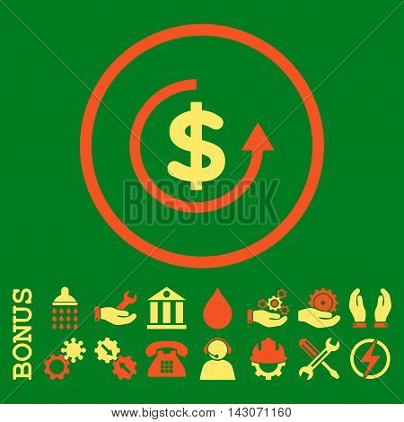 Refund glyph bicolor icon. Image style is a flat pictogram symbol inside a circle, orange and yellow colors, green background. Bonus images are included.