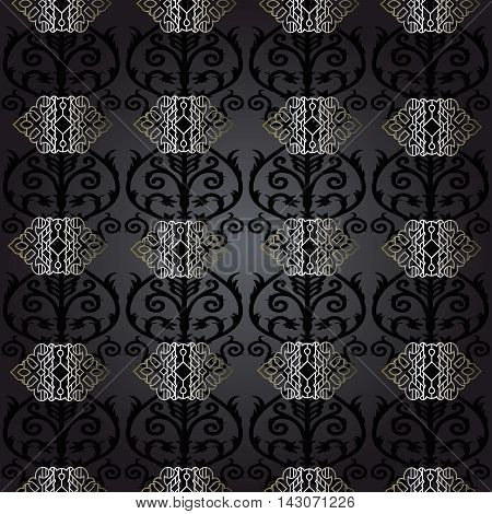 Black Damask baroque vector vintage seamless pattern background with elegant black and silver oriental  volumetric ornaments. Luxury element for design in Eastern style.Ornate 3d decor with shadow and highlights.
