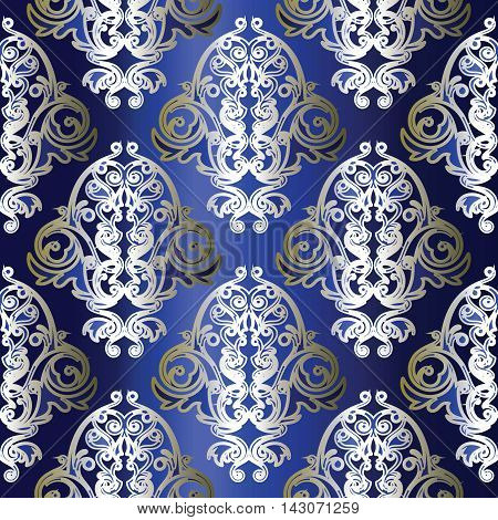 Dark blue damask baroque vector vintage seamless pattern background with elegant decorative oriental  volumetric silver ornaments. Luxury element for design in Eastern style.Ornate 3d decor with shadow and highlights.
