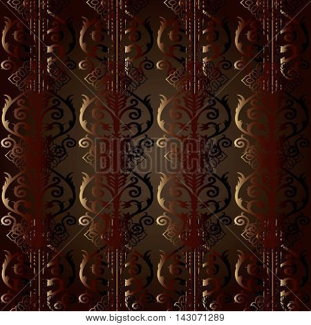 Brown Damask baroque vector vintage seamless pattern background with elegant decorative oriental  volumetric ornaments. Luxury element for design in Eastern style.Ornate 3d decor with shadow and highlights.