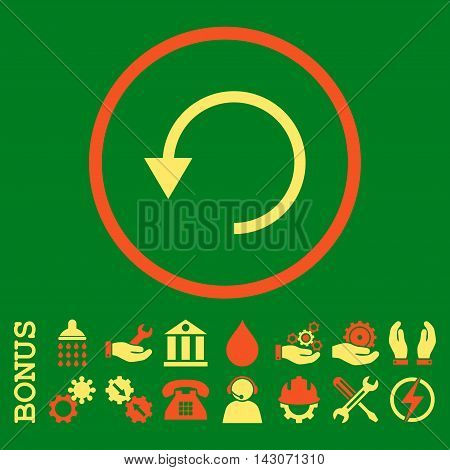 Rotate Ccw glyph bicolor icon. Image style is a flat pictogram symbol inside a circle, orange and yellow colors, green background. Bonus images are included.