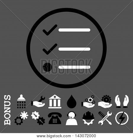 Checklist glyph bicolor icon. Image style is a flat pictogram symbol inside a circle, black and white colors, gray background. Bonus images are included.