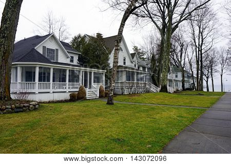 Elegant Victorian homes on Third Avenue in Wequetonsing, Michigan.