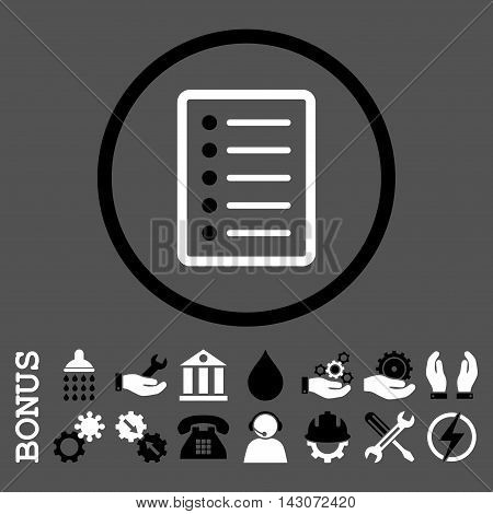 List Page glyph bicolor icon. Image style is a flat pictogram symbol inside a circle, black and white colors, gray background. Bonus images are included.