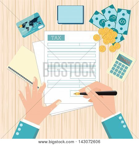 Top view of Man hands filling tax form with pen. Modern concept for web banners websites Creative flat design vector illustration.