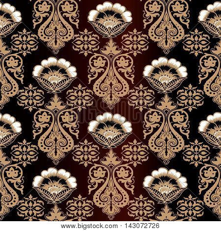 Brown damask baroque vector vintage seamless pattern background with elegant decorative oriental  volumetric ornaments and beautiful flowers. Luxury element for design in Eastern style.Ornate 3d decor with shadow and highlights.