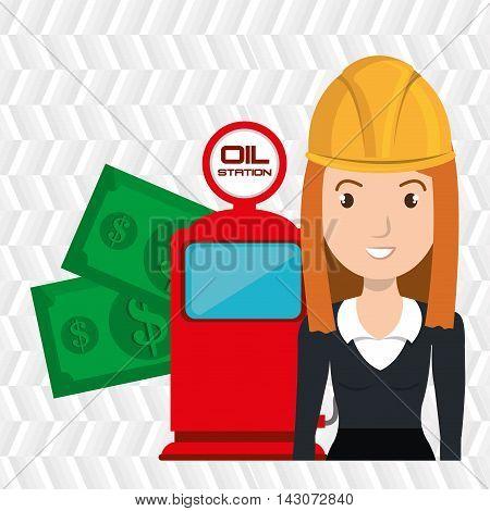 woman dispenser gasoline vector illustration graphic eps 10