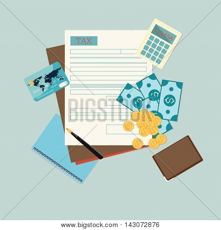 Top view of tax form with pen money credit card calculator wallet Modern concept for web banners websites Creative flat design vector illustration.