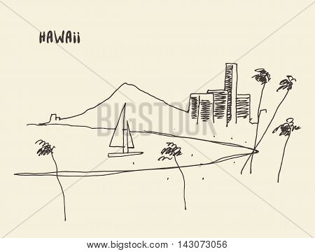 Sketch of a Hawaiian seaside view, vector illustration, hand drawn